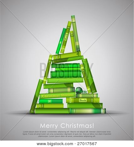"""Christmas Stories"". Christmas tree formed from books. Vector Illustration."