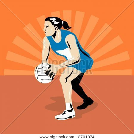 Netball Player About To Pass The Ball