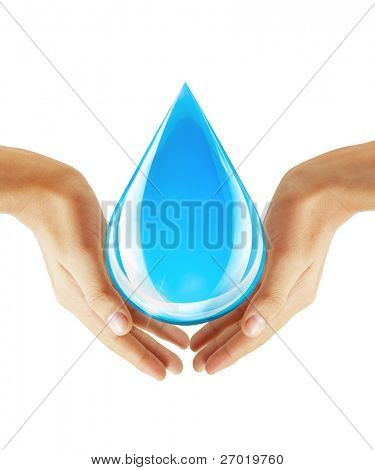 Hand holding water drop