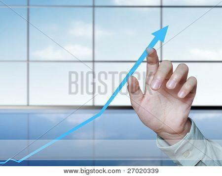 gráfico de negocios de mano