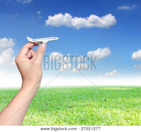 HAND with model aircraft