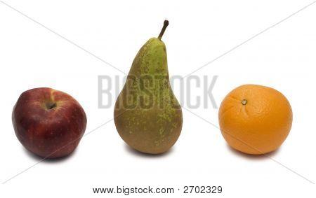 Pear, Orange And Apple