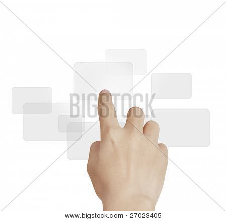 mão empurrando em uma interface de tela de toque