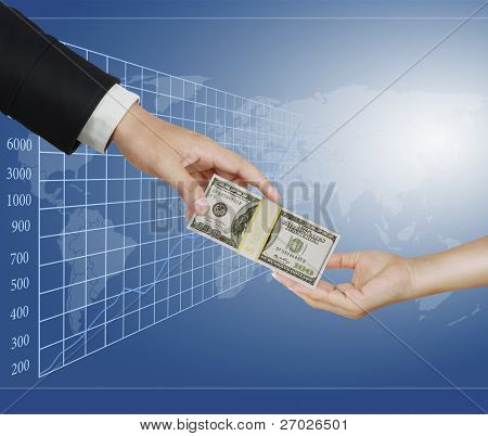 Hand handing over money