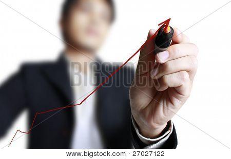 Masculino mão desenhando um gráfico isolado no fundo branco