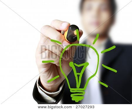 Hand mit einer Federzeichnung Glühbirne
