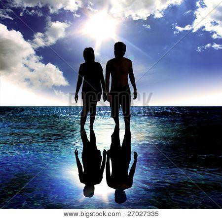 romantic Scene of love couples in the sea