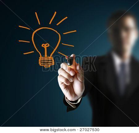 Hände, Zeichnung Glühbirne