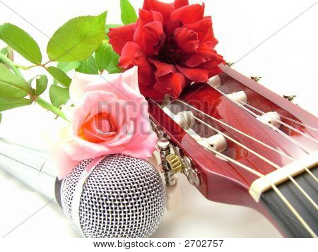 Love Song Guitar Music Rose Flowers