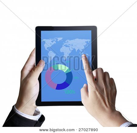 touchpad 3D, mão segurando um touchpad pc com gráfico