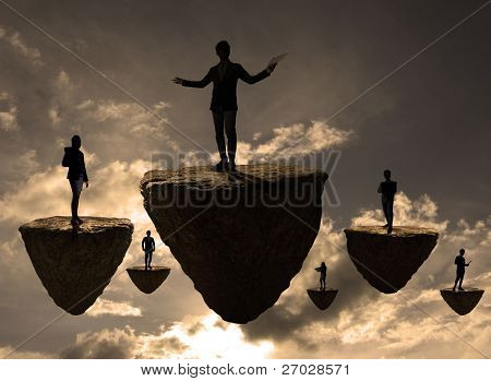 business people on a rock that floats on the sky