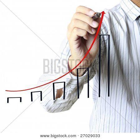 männlich Hand Zeichnen eines Diagramms