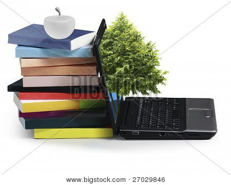 Books with a laptop on a white background
