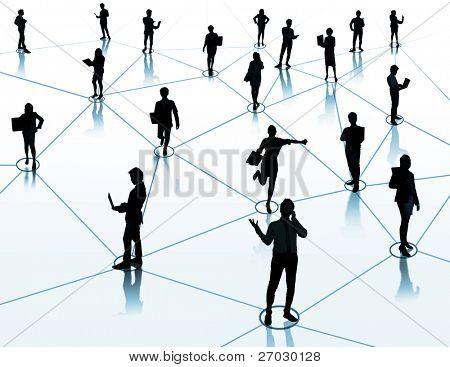 trabajador permanente en una conexión virtual, red