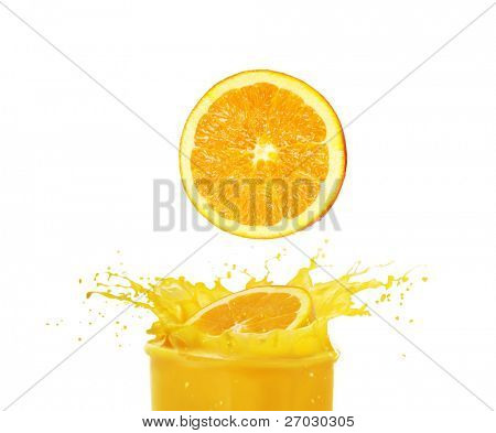 orange slices fall in juice on a white background