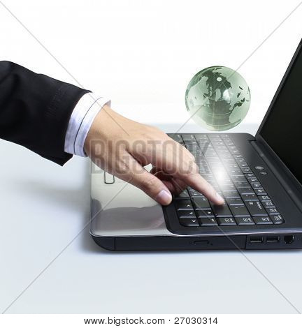 hand cursor hand clicks on cloud computer internet world
