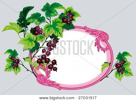 ornamental vector frame with branch of black currants
