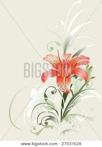 lily flower ornament, congratulations, picture postcard