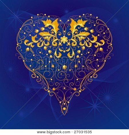 heart with flourishes ornament