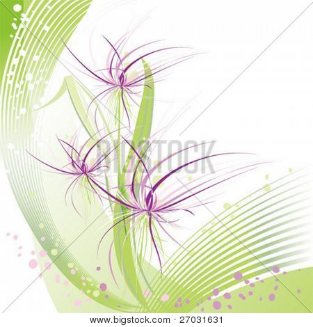 abstract ink flower on green background