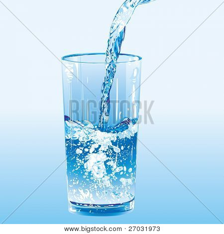 Water poured into a tumbler, raster version