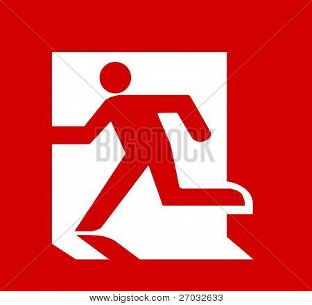 Symbol of Fire Emergency Exit Sign isolated on Red Head Left