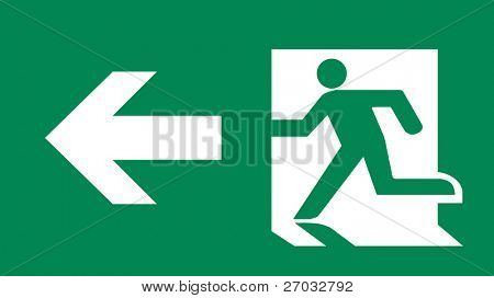 Symbol of Fire Emergency Exit Sign with Arrow isolated on Green Head Left