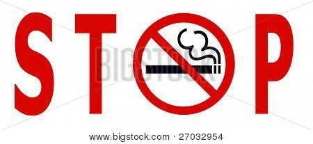 Symbol of No Smoking Zone Sign isolated on White