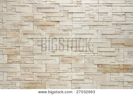 Pattern of White Modern stone Brick Wall Surfaced