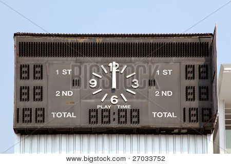 traditional score board at stadium