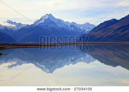 reflection of mount cook at lake pukaki, New Zealand
