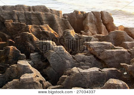 landscape of Pancake grand canyon rock at west coast beach New Zealand