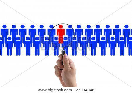 Elegir al empleado de la persona de derecho para la captación de negocio