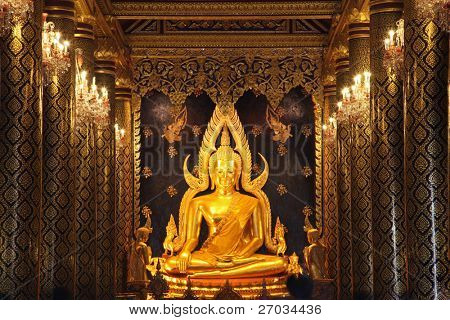 golden buddha statue image in Phisanulok Temple Thailand