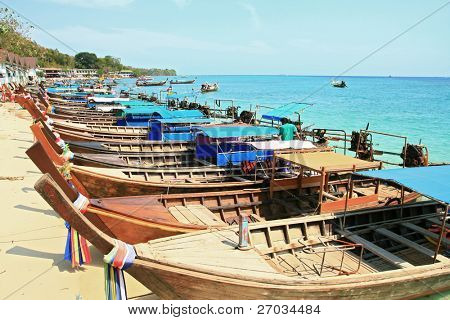 motor long tail boat parking at Phi Phi beach Phuket Thailand