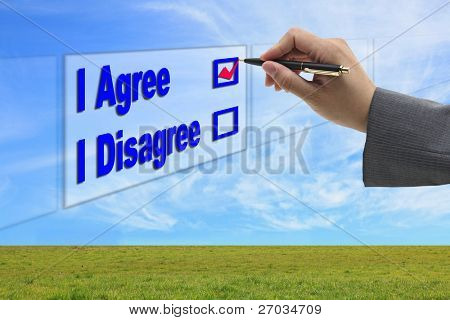 asian Business man hand choosing I Agree option on touch screen for business