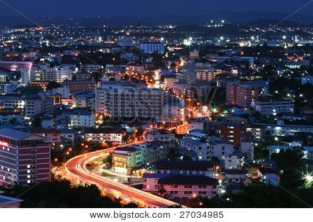 aerial view of Freeway Light trail to City at dusk in Pattaya, Thailand
