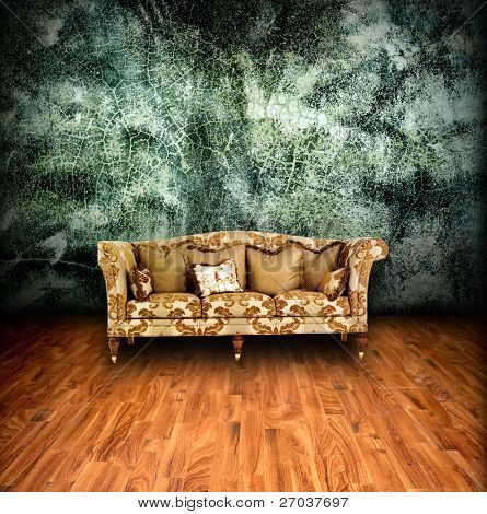 interior grunge room with classic sofa