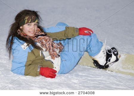 Health Lifestyle Image Of Teens Snowboarder Girl After Incidence