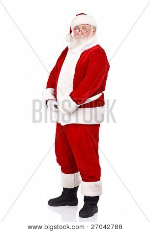 Santa Claus holding  his big belly, full body, isolated on white background