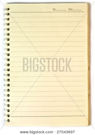 Old note-book isolated on white background