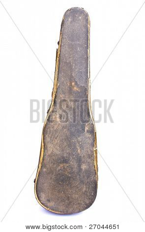 Old violin case isolated on white background