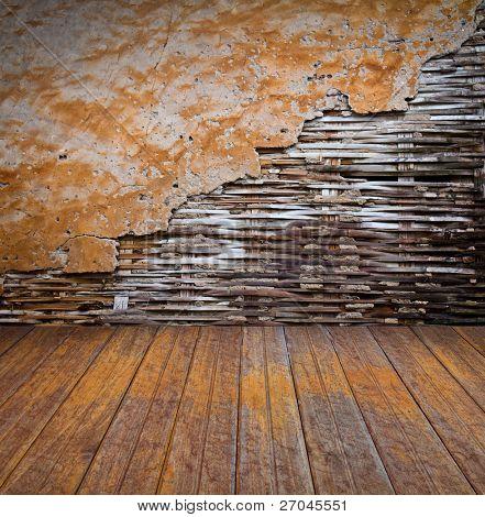 old bamboo wall and wood floor