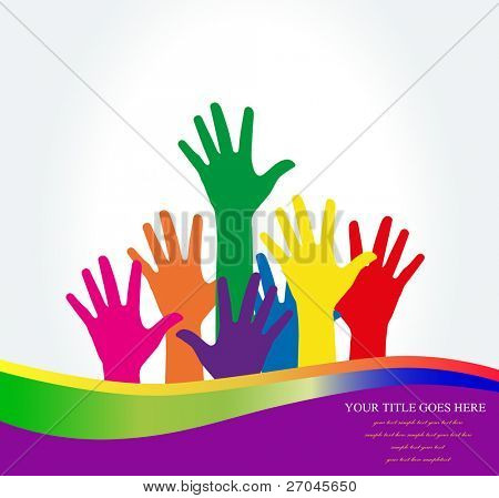 Photo of raised hands .Vector  Illustration
