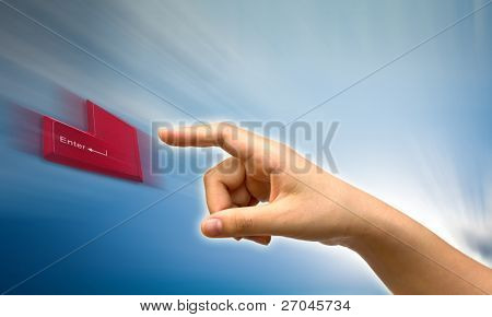 "woman finger push ""enter"" button"