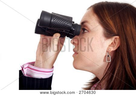 Business Woman Searching With Binoculars