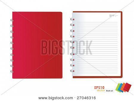 Foto del cuaderno rojo (papel en blanco). Ilustración del vector.