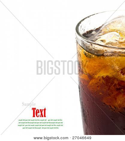 Close Up Glass of cola with ice. Isolated on white background