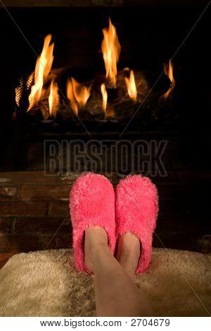 Calentamiento pies por el fuego