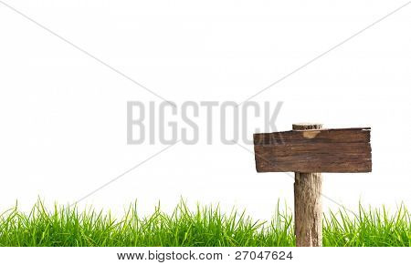 Wood sign with grass isolated on a white background